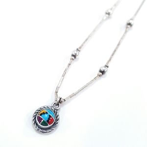 Sterling Silver 925 Western Aztec Indian Necklace